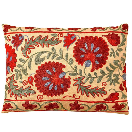 Colosseum Daisy Red Suzani Cushion Double Sided With Ikat - Heritage Geneve