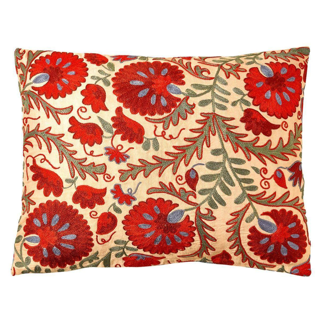 Colosseum Carnation Suzani Cushion Double Sided With Ikat - Heritage Geneve