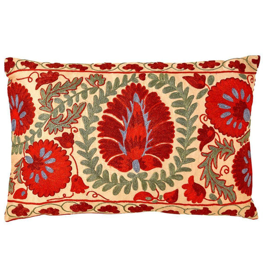 Colosseum Peonie Suzani Cushion Double Sided With Ikat - Heritage Geneve