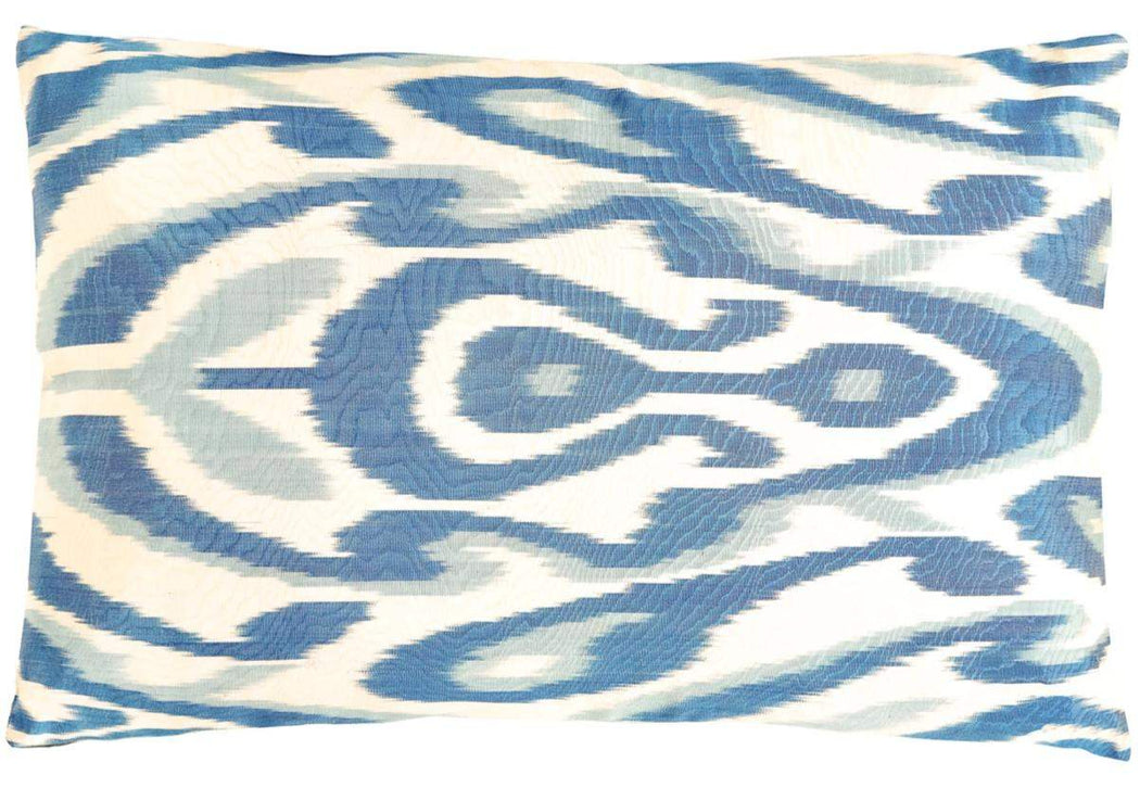 Artemis Blue Leaf Double Sided Ikat Cushion - Heritage Geneve