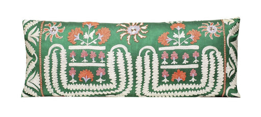 Green Garden Silk Suzani Cushion - Heritage Geneve