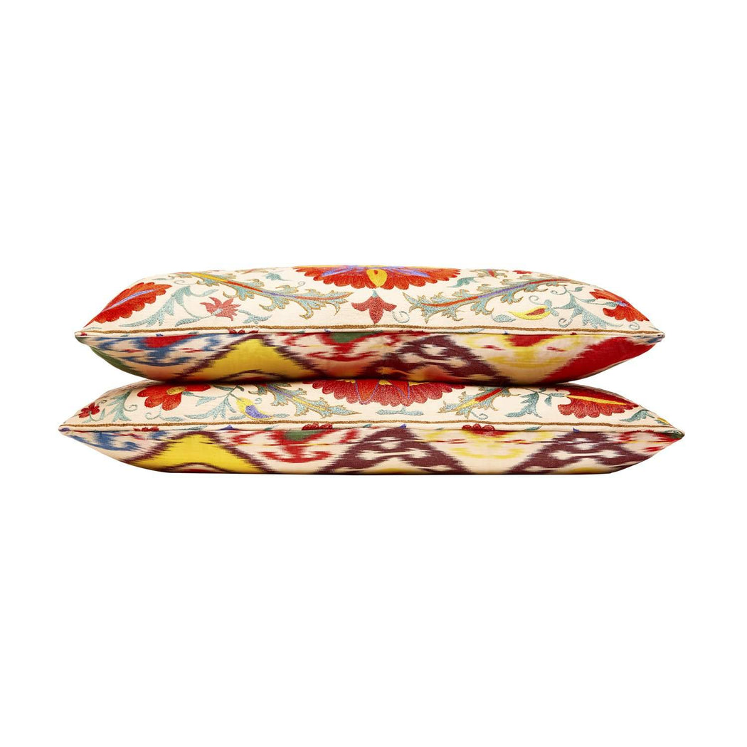 Chelsea Garden Double Flower Silk Suzani Cushion - Heritage Geneve