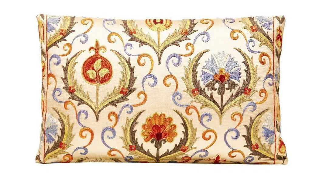 Paddington Garden Sky Silk Suzani Cushion - Heritage Geneve