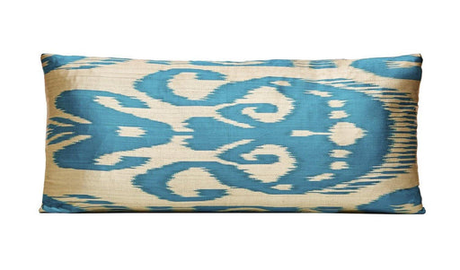 Blue Lamp Handwoven Silk Ikat Cushion - Heritage Geneve