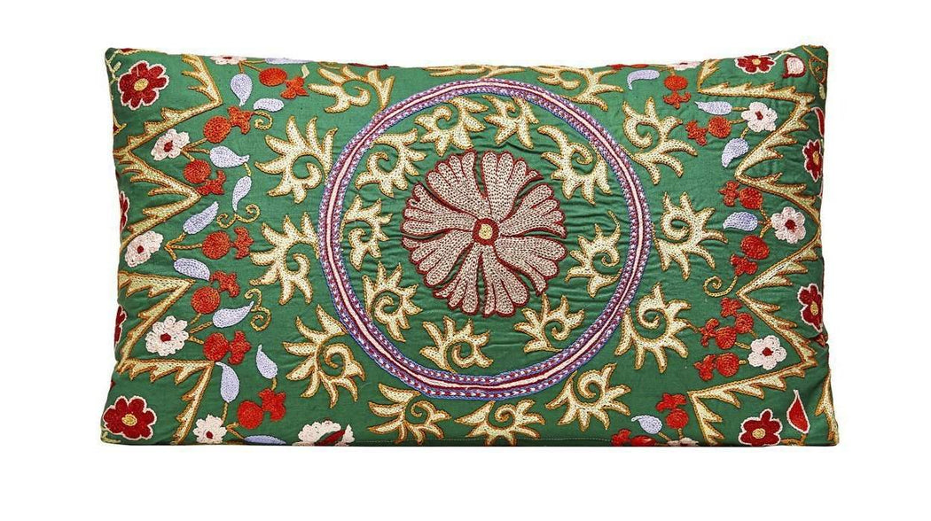 Sky Garden Flower Medium Silk Suzani Cushion - Heritage Geneve