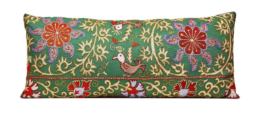 Sky Garden Bird Long Suzani Silk Cushion - Heritage Geneve