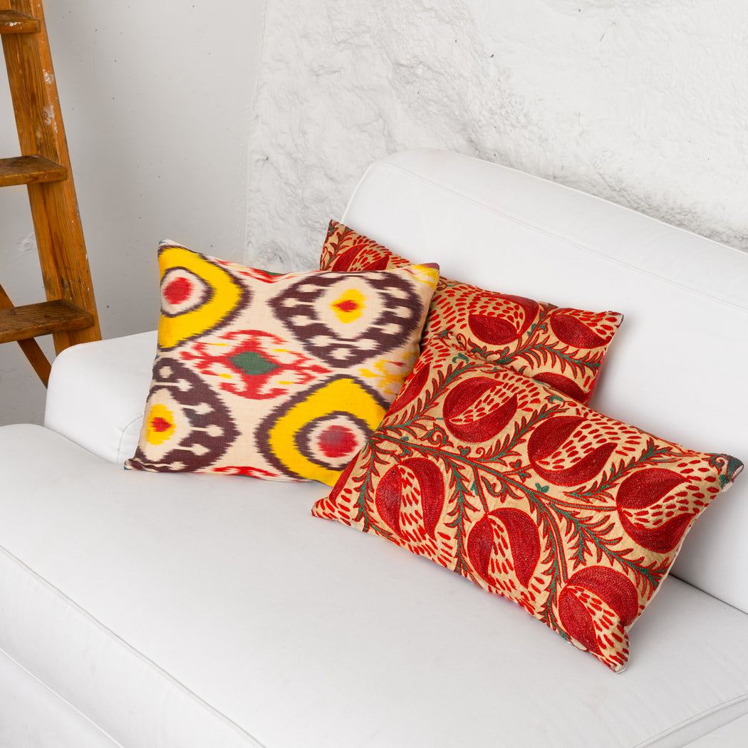 Coloured Eyes Handwoven Silk Ikat Cushion - Heritage Geneve