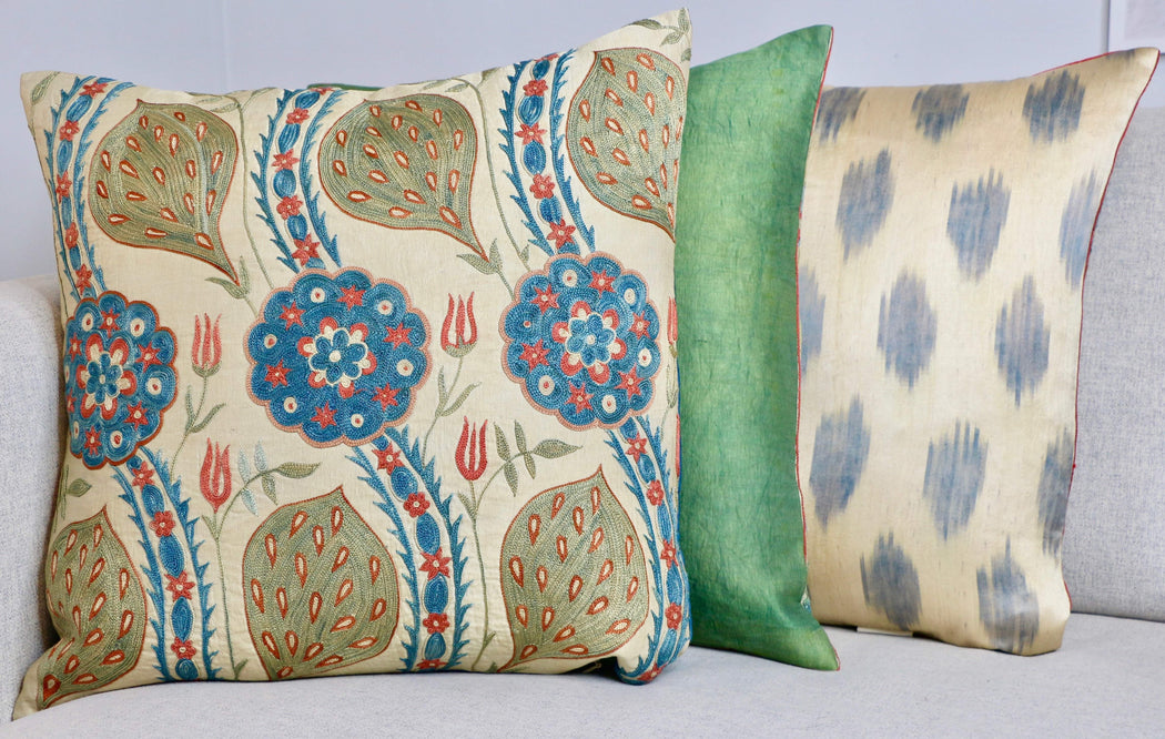 Yellow Leaf  Design Silk Suzani Cushion - Heritage Geneve