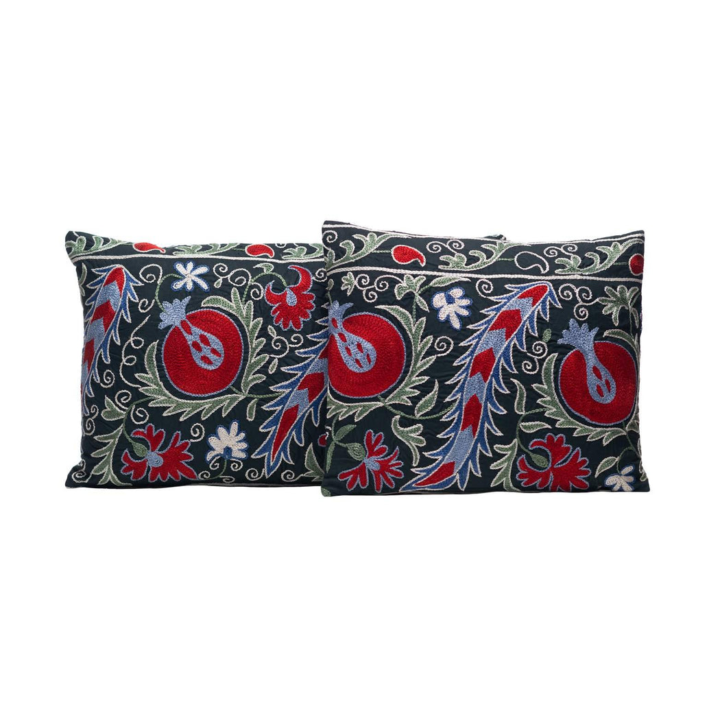 Pomegranate Fruit Silk Suzani Cushion Double Sided Ikat