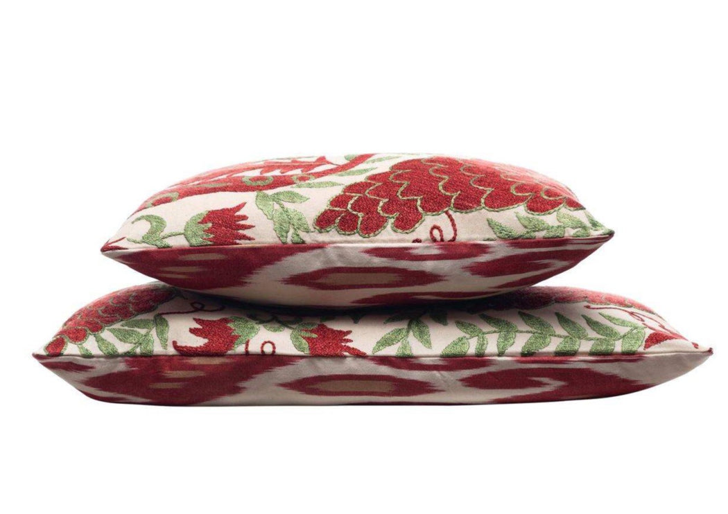 double sided cushion ikat and suzani