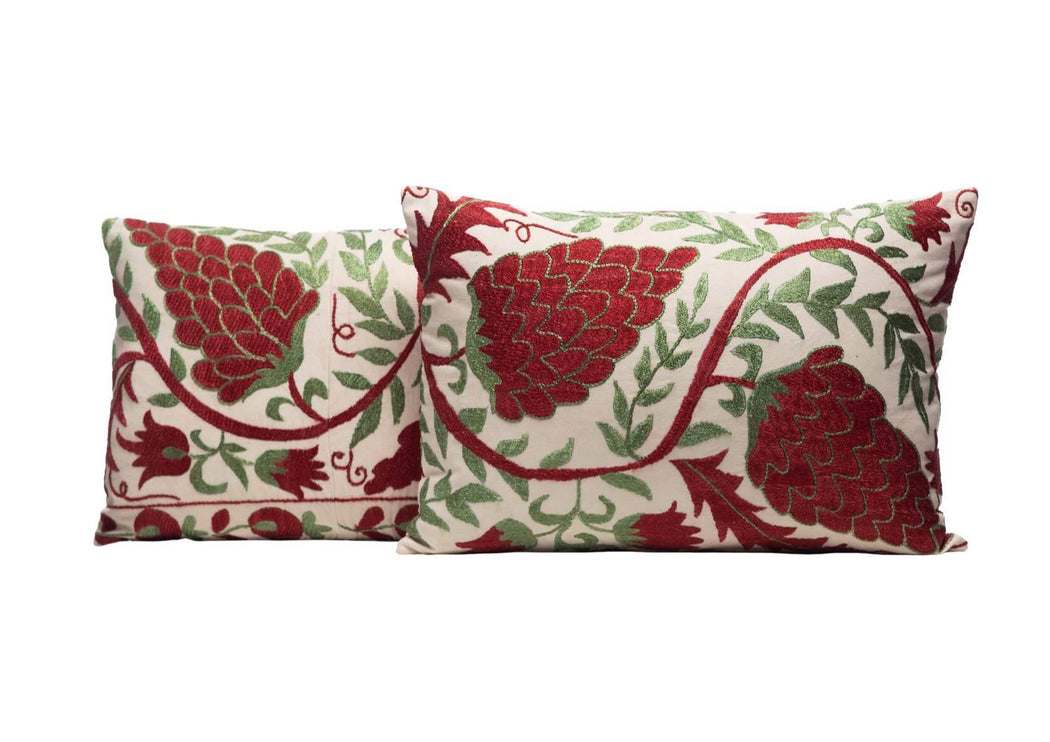 Lavaux Vines Silk Suzani Cushion Double Sided Ikat