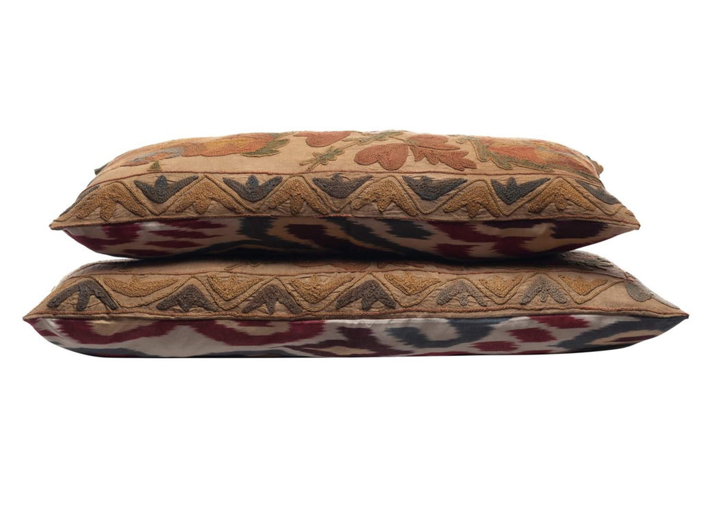 Pine Forest Silk Suzani Cushion Double Sided Ikat