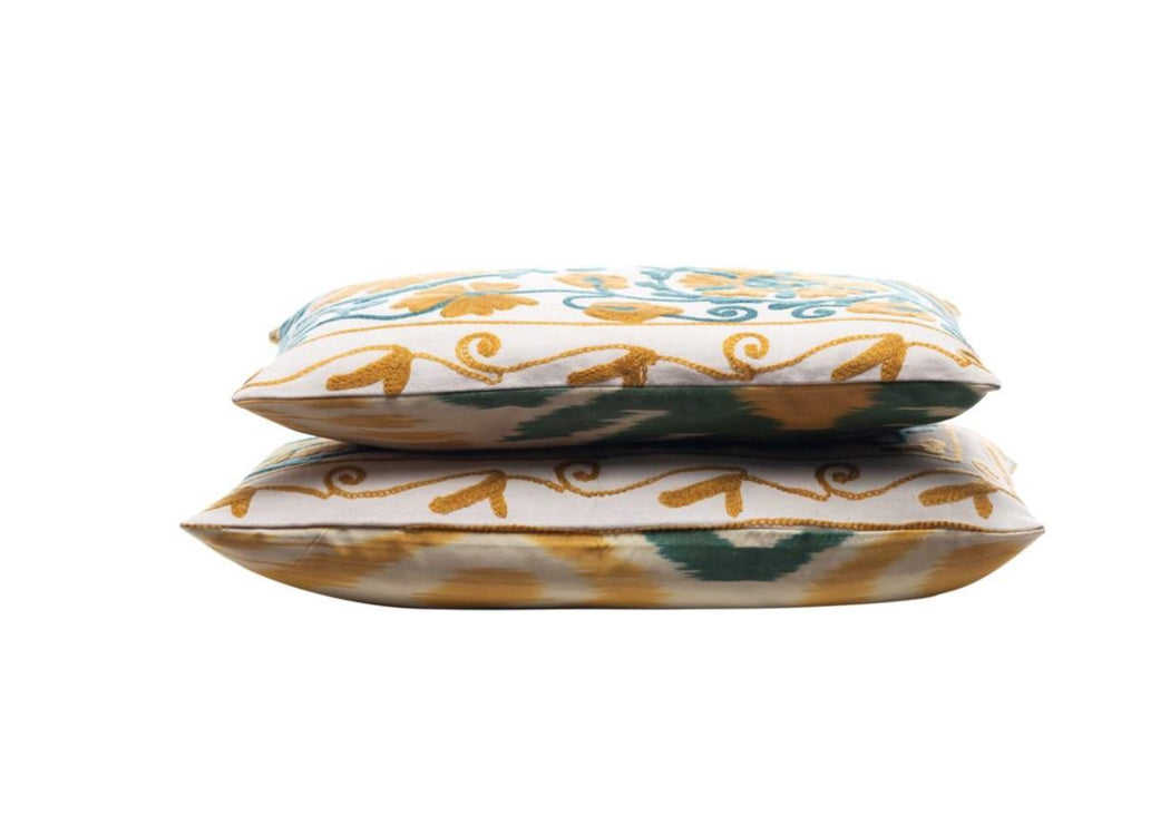Mastic Seeds Silk Suzani Cushion Double Sided Ikat