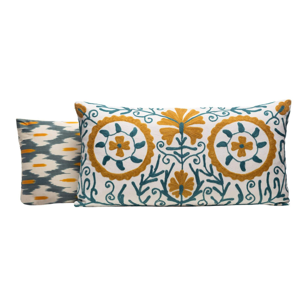 Mastic Branches Silk Suzani Cushion Double Sided Ikat