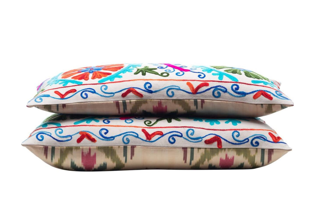 colourful suzani ikat cushion