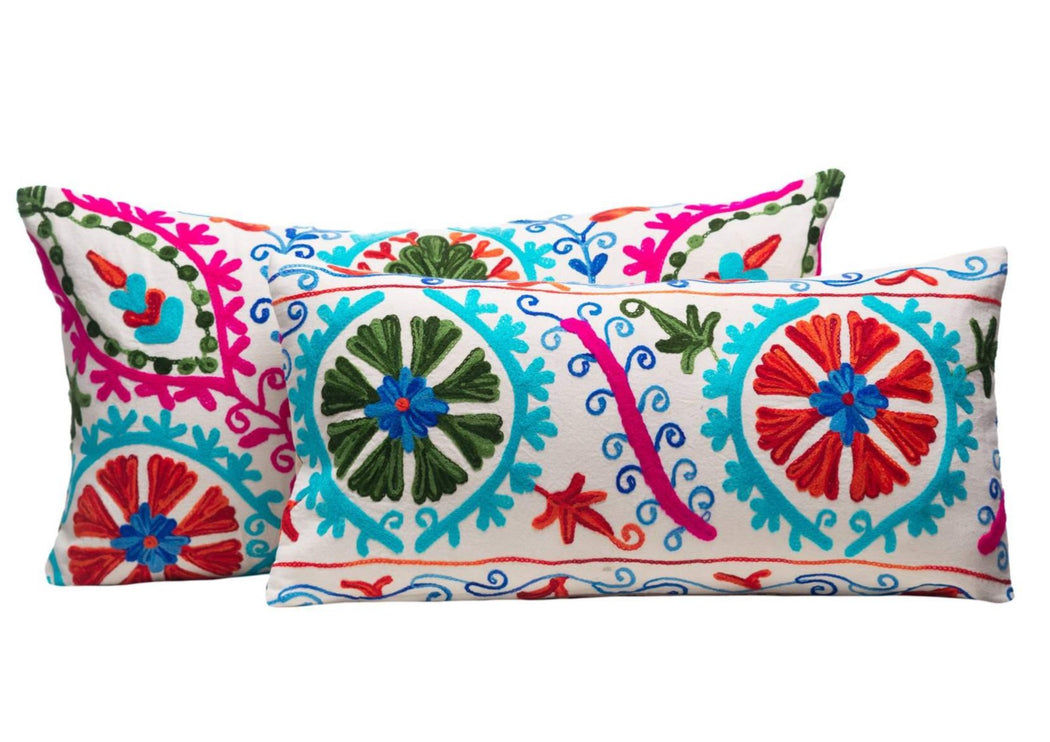 colourful hand embroidered cushions