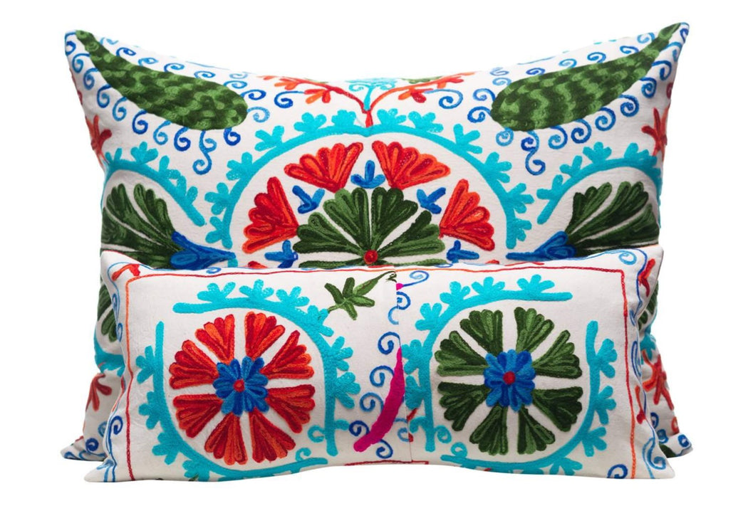 blue suzani cushion hand embroidered