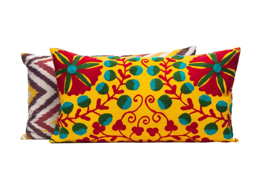 Sunflower Head Silk Suzani Cushion Double Sided İkat
