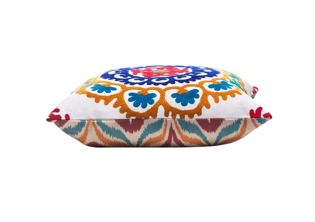Orange Blossom Flower Silk Suzani Cushion Double Sided Ikat