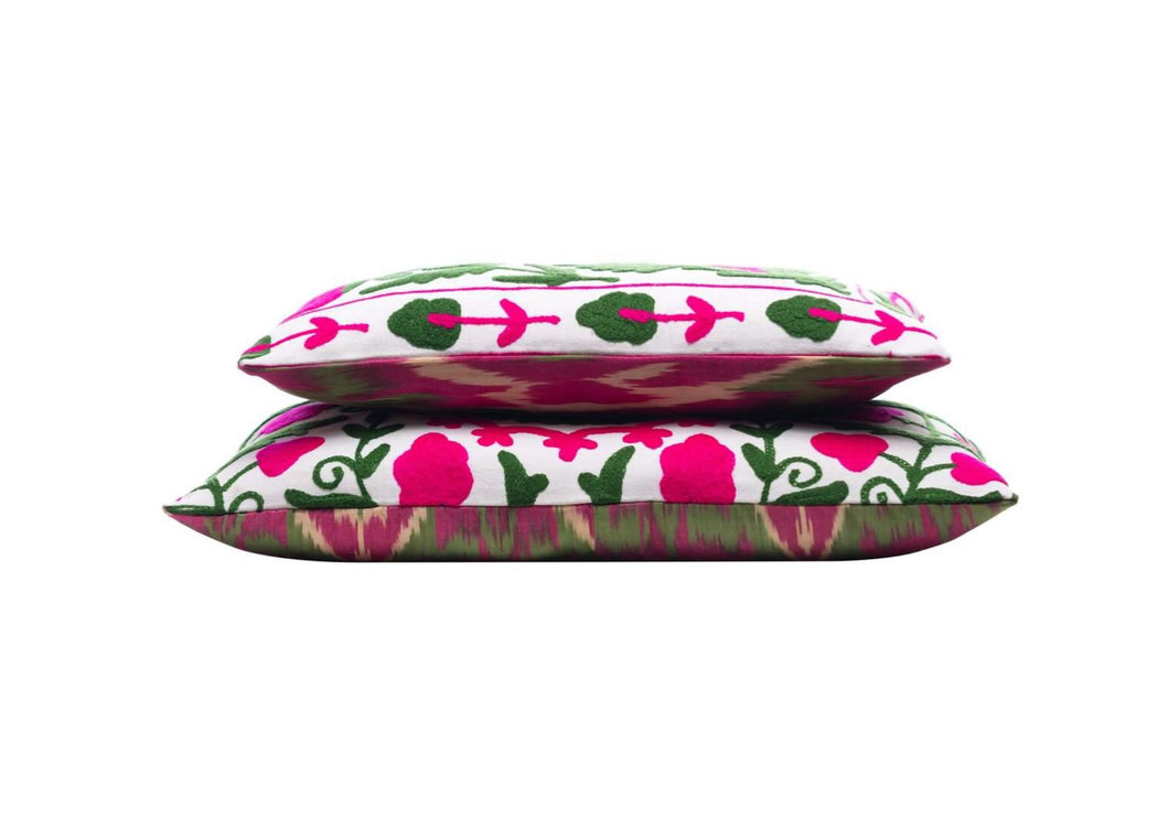 double sided pink and green cushions