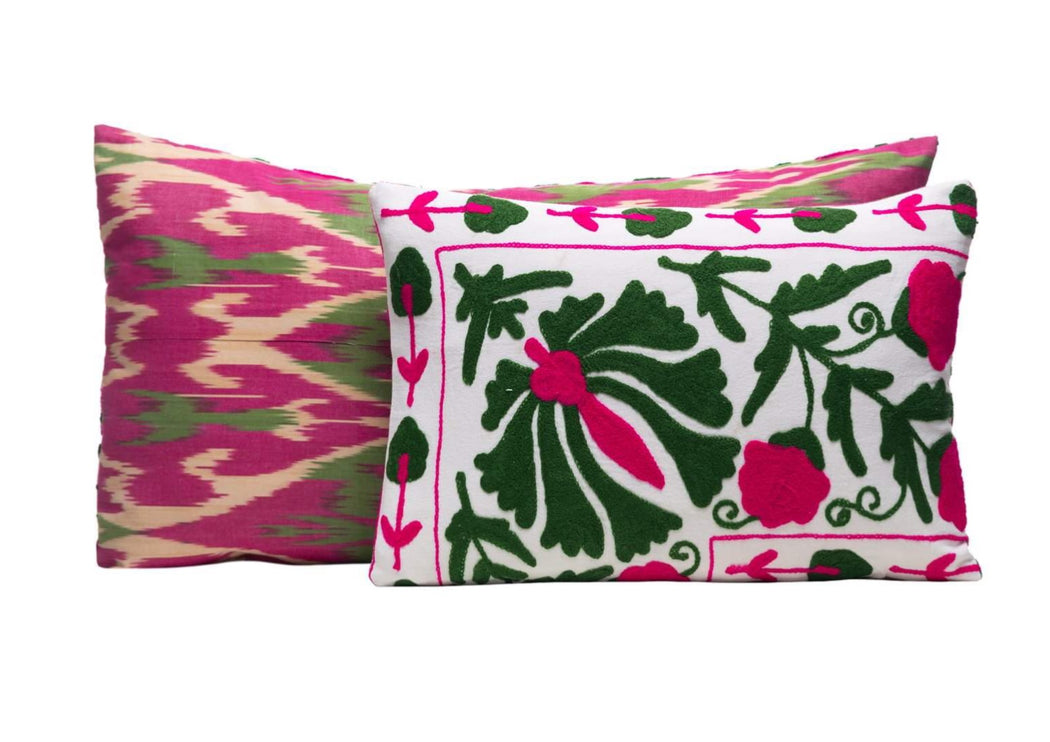 pink and green suzani cushions