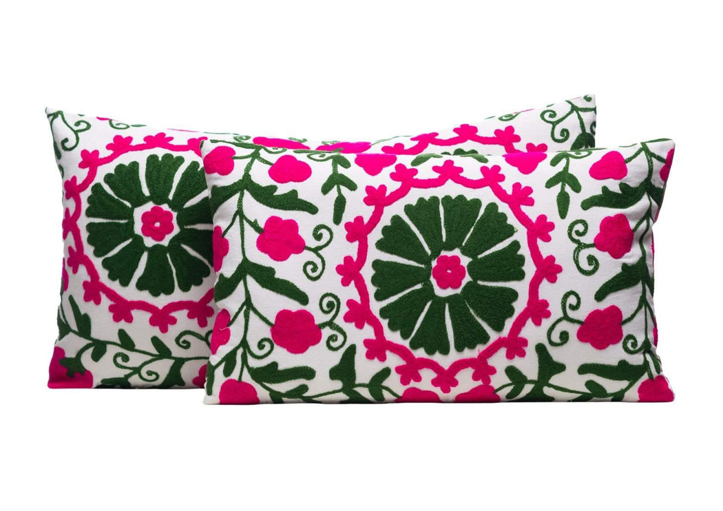 green pink cushion