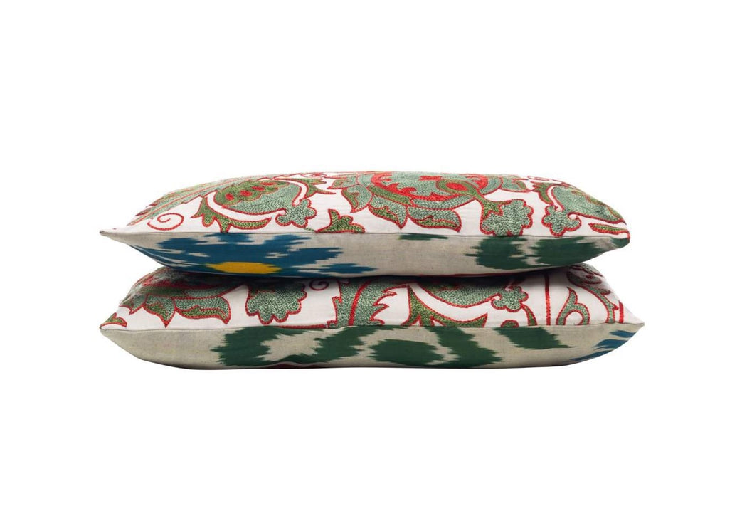 Olive Corner Silk Suzani Cushion Double Sided Ikat
