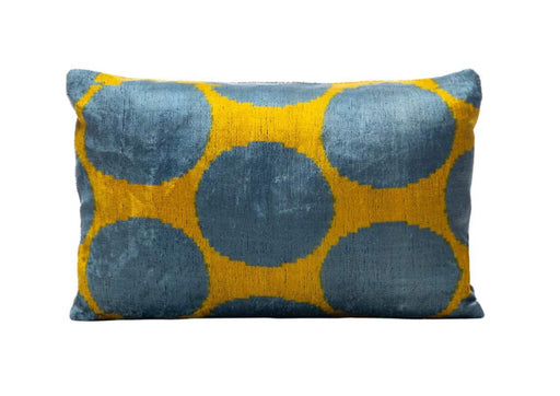 blue yellow velvet cushion
