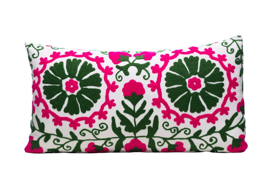 green pink embroidered cushion