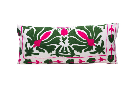 Ivy Evergreen Silk Suzani Cushion Double Sided Ikat