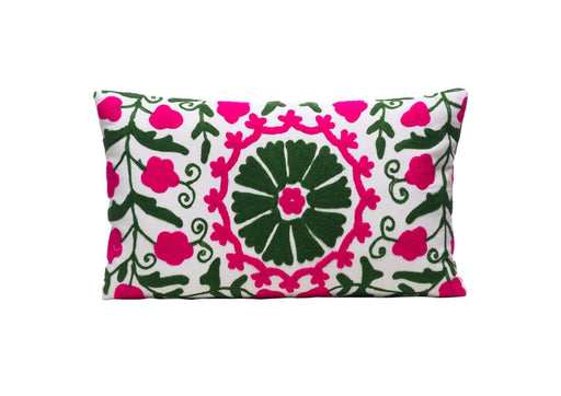 Ivy Flower Silk Suzani Cushion Double Sided Ikat