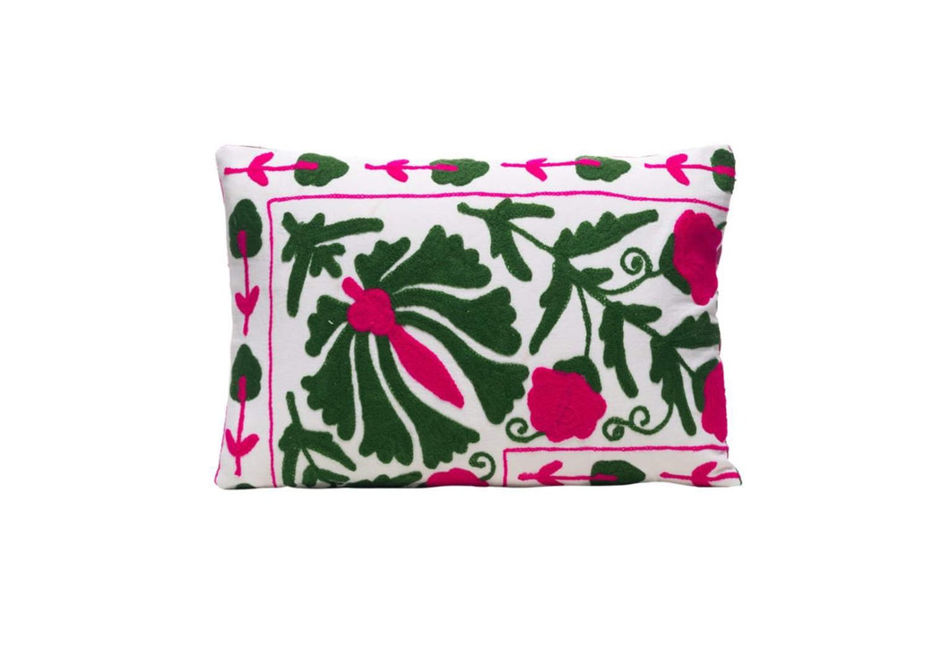 green and pink suzani cushion