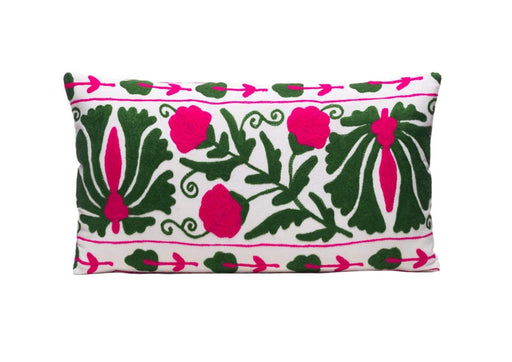 Ivy Leaf Silk Suzani Cushion Double Sided Ikat