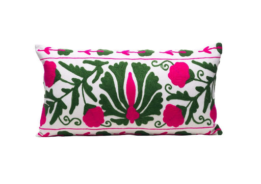 Ivy Plant Silk Suzani Cushion Double Sided Ikat
