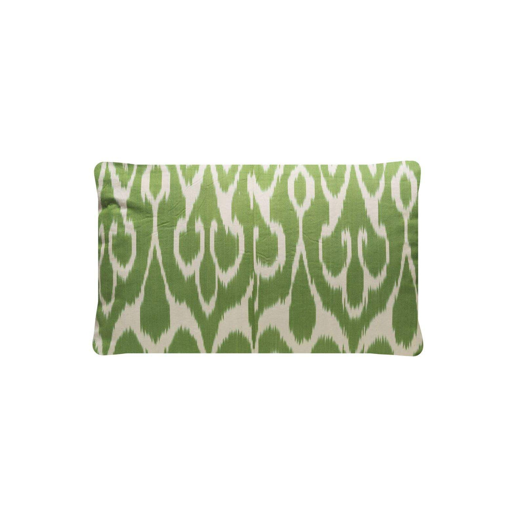 Sage Evergreen Silk Suzani Cushion Double Sided Ikat