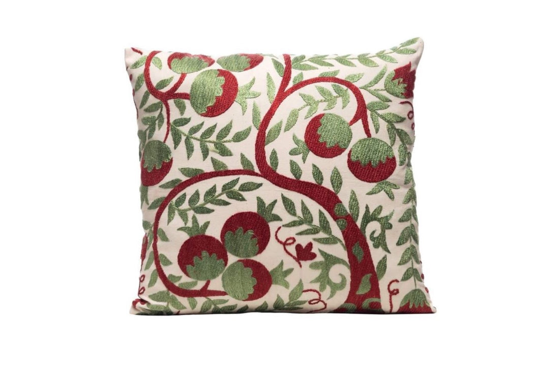 Marchesi Vines Silk Suzani Cushion Double Sided Ikat