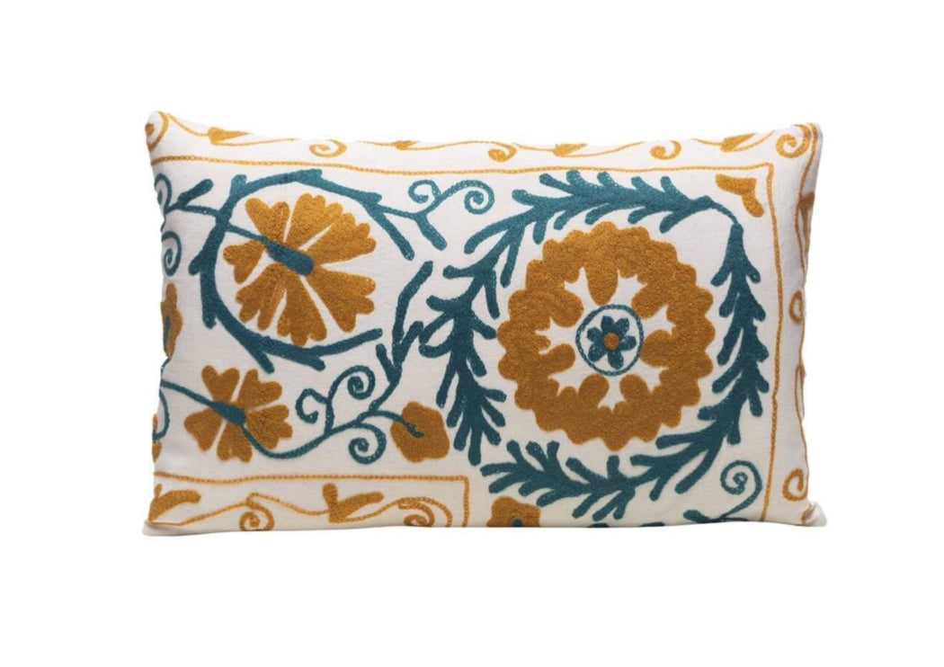 Mastic Jam Silk Suzani Cushion Double Sided Ikat