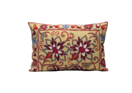 flower red and yellow suzani cushion
