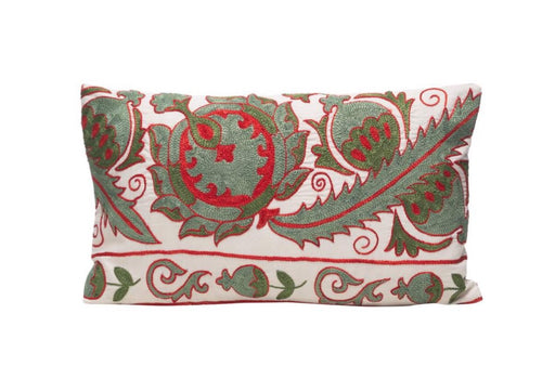 Olive Branch Silk Suzani Cushion Double Sided Ikat