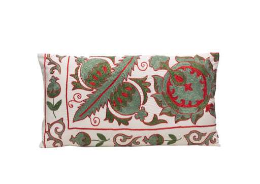 green and red suzani cushion