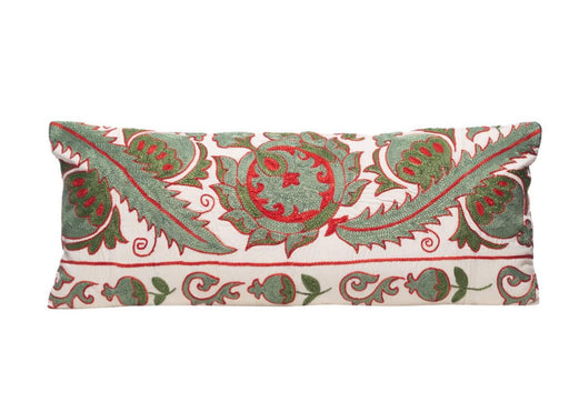 long green and red suzani cushion