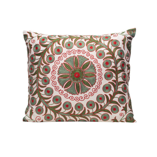 Olive Harvest Silk Suzani Cushion Double Sided Ikat