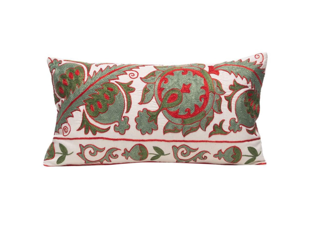 Olive Leaf Silk Suzani Cushion Double Sided Ikat