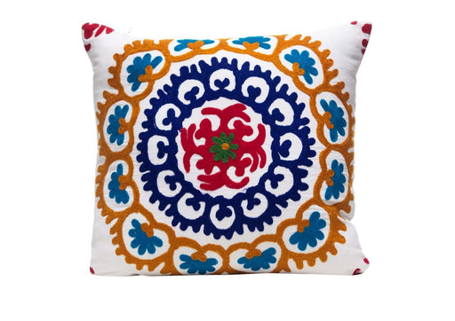 white and orange embroidered large cushion