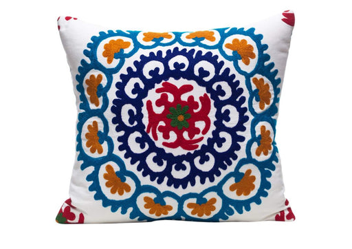 Orange Blossom Tree Silk Suzani Cushion Double Sided Ikat