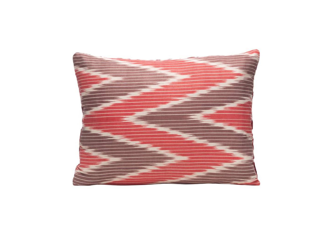 red and brown ikat cushion