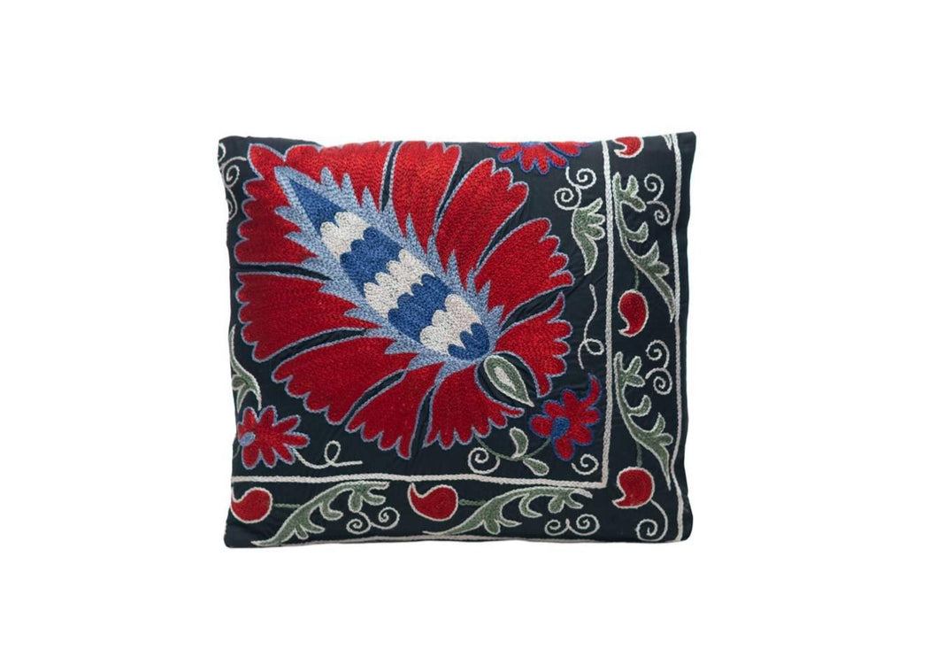 Pomegranate Harvest Silk Suzani Cushion Double Sided Ikat