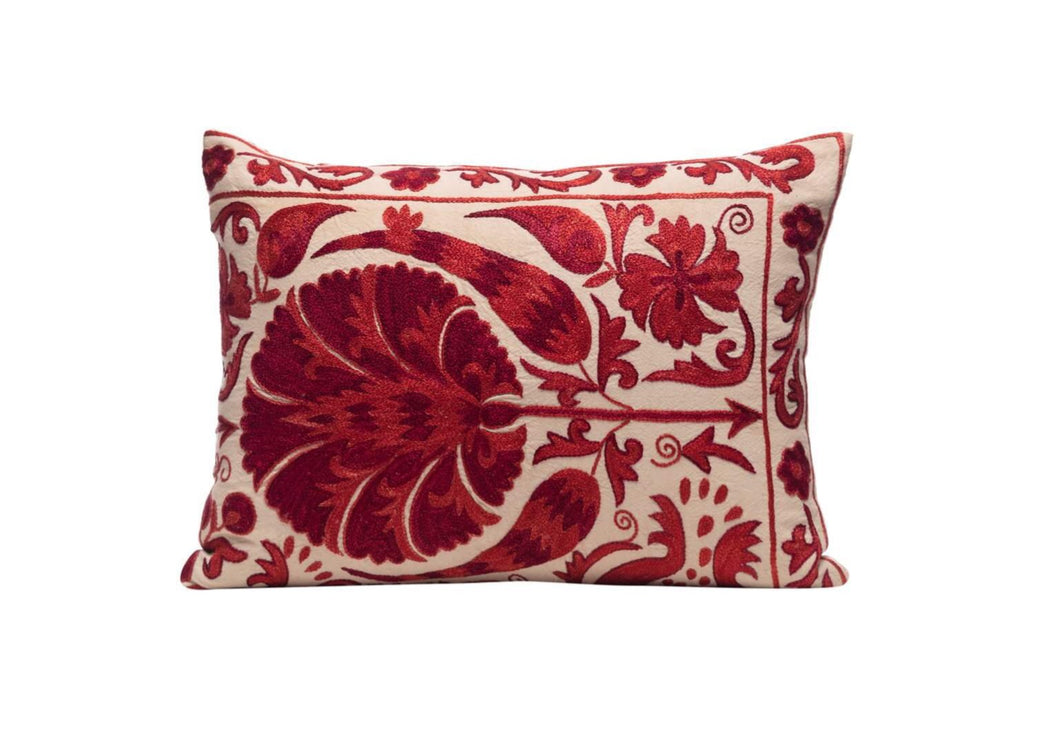 Poppy Bloom Silk Suzani Cushion Double Sided Ikat