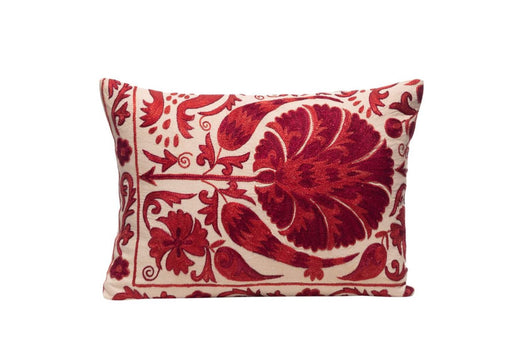 Poppy Flower Silk Suzani Cushion Double Sided Ikat