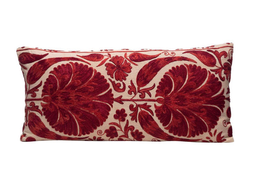 long red suzani cushion